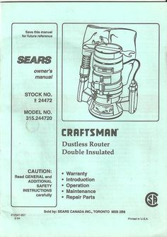 craftsman router crafter owners manual