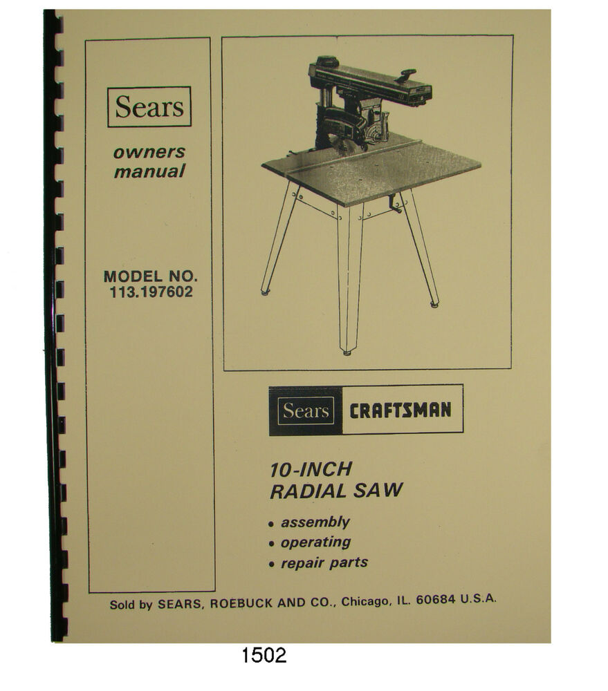 1976 craftsman radial arm saw manual
