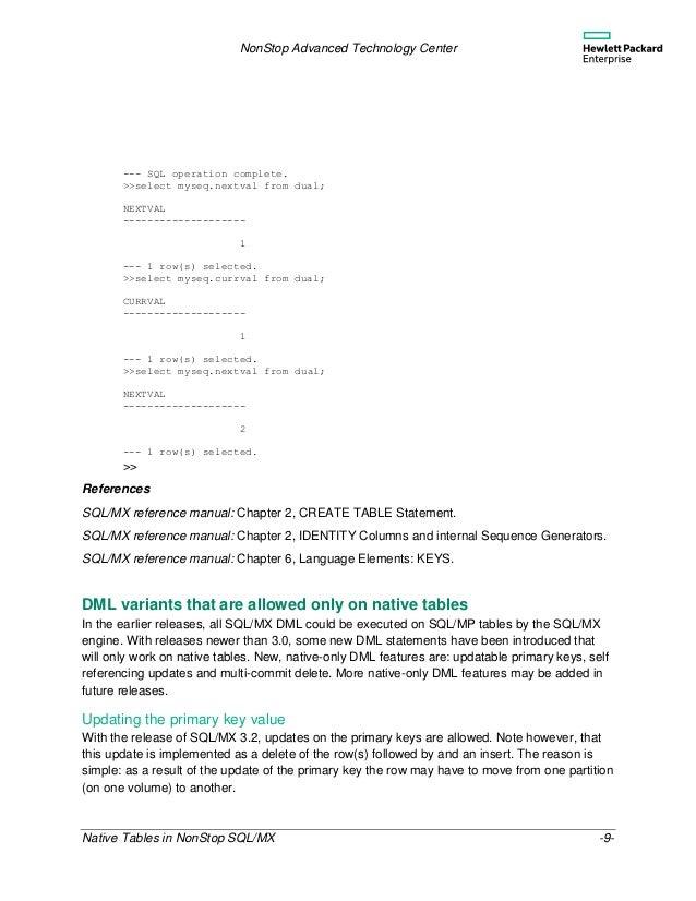 hp nonstop sql mx reference manual
