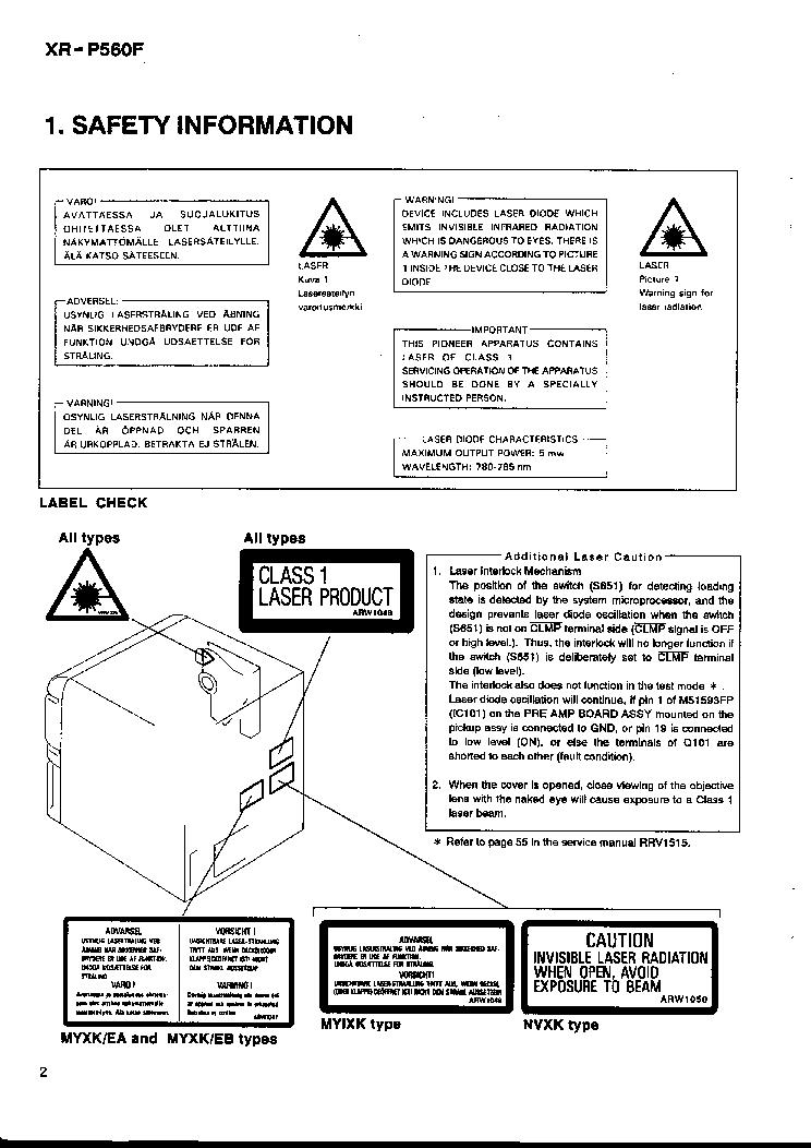 pioneer xr-p 560 service manual