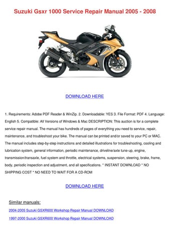 suzuki gsxr 1000 k2 service manual