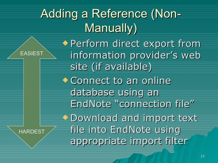 how to save a manually entered endnote reference